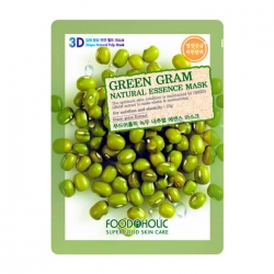 FoodaHolic Green Gram Natural Essence 3D Mask - Тканевая 3Д маска для лица с натуральным экстрактом бобов мунг, 23г