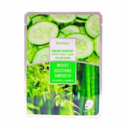 Deoproce Color Synergy Effect Sheet Mask Yellow-Green - Маска тканевая на основе бамбука и огурца, 20 г