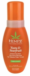 Hempz Yuzu & Starfruit Instant Sunless Bronzing Mousse for Medium Skin Tones - Мусс для тела с бронзантом темного оттенка Юдзу и Карамбола, 250мл
