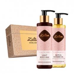 Zeitun - Набор подарочный Минуты нежности с дамасской розой и персиком(масло д/душа, молочко д/тела)